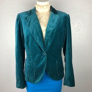 NEW YORK & CO. Velvet Teal Blazer size 14 XL